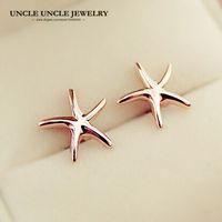 kleine süße ohrringe großhandel-Rose Gold Farbe Sweet Small Starfish Style Einfache sternförmige Lady Bolzenohrring Großhandel Mode-Accessoires