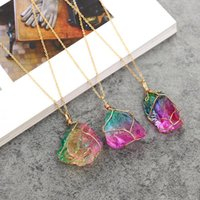 Wholesale mineral necklaces for sale - Group buy Hot Sale Colorful Rough Stone Pendant Necklace Wire Wrapped Irregular Natural Minerals Stone Necklace Send In Random Free DHL
