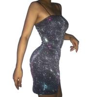 облегающие одежды оптовых-Миниатюрное платье из эластичного атласа Bodycon Женские бретельки Розовый двухслойный Femme Sexy Party Зеленый неоновый тонкий халат Fit