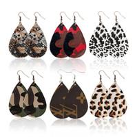 ingrosso orecchini in pelle di moda-Moda orecchini in pelle PU forma a goccia ciondola gancio orecchino gioielli Eardrop per le donne regalo