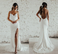Wholesale katie wedding dresses for sale - Group buy Simple Desigin Katie May Beach Mermaid Wedding Dresses with Slit Full Lace Spaghetti Backless Holiday Garden Bridal Dress Cheap
