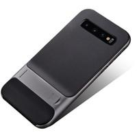 пластиковые стойки для телефона оптовых-Новый Для Samsung Galaxy S10 Case Armor Жесткий Пластик Для Galaxy S10 Plus Case Роскошный Стенд Назад Сетка Текстура Крышка Телефона Для Samsung S10E