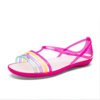 mujeres jalea zapatos pisos colores al por mayor-POLALI 2019 Sandalias Mujer Verano Nueva EVA Casual Mixta Colores Del Caramelo Suave Slip On Beach Jelly Shoes Mujer Sandalias planas