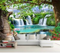 Wholesale green living pictures for sale - Group buy custom d photo wallpaper mural living room green tree forest waterfall d picture sofa TV background wall wallpaper non woven wall sticker