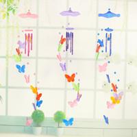 ingrosso ornamenti da giardino decorazione-Vendita calda farfalla campanelli eolici ornamenti creativi decorazioni per la casa da giardino artigianato bambini regalo di compleanno farfalle ciondoli campanelli eolici decorazioni