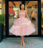 Wholesale spring cocktail dresses for sale - Group buy Strapless Simple Pink Tulle Short Homecoming Dresses Tiered Layers Cocktail Party Gowns Knee Length Graduation Dress Prom Wear Vestidos