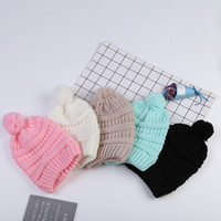 Wholesale casual kids hats for sale - Group buy Cute Kids Knitted Hats Fashion Girl Warm Winter Soft Plush Ball Pompom Hat Outdoor Children Candy Colors Beanie Caps TTA1379
