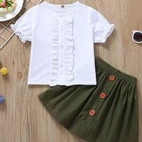 Wholesale high kids clothes resale online - Baby Girl Clothing Set Solid O Neck Lace Short Tops High Waist Single Breasted A Line Skirt Two Piece Set Kids Designer Clothes Kids Clothes