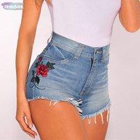 mavi çiçek şortu toptan satış-Çiçek Vintage İşlemeli Şort Nakış Kadınlar Gül Çiçek Elastik Yüksek Waisted Denim Jeans Mavi Siyah Kısa Kadın