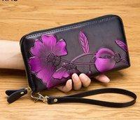 cartão de carga venda por atacado-fh35 # 2019 nova carteira de couro real pode ser carregado com cartão bolsa saco saco de telefone celular carteira Ladies
