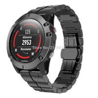 siyah ışıklar bandı toptan satış-Garmin Fenix Için Titanyum Alaşım Bilekliği Watch Band Kayışı 3 / İK Fenix 5X Siyah Gümüş Hafif Fit ile