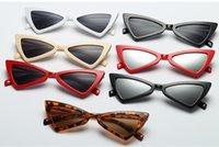 plásticos triángulo al por mayor-Precio de fábrica Sexy Cat Eye Sunglasses Triangle Leopard Frame Varios colores Opcionales Gafas de plástico mujeres sunglases para sunglases 10 UNIDS