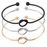 ingrosso braccialetti nodi in metallo-Fashion Simple Wire Tie Il Knot Bracelet Bangle Lovely Knot Bracciale aperto metallo Bangles per le donne gioielli regalo B18216