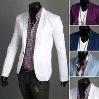 özel blazerler erkek toptan satış-Özel muamele 2016 Yeni Geliş Bahar Moda Şeker Renk Şık Slim Fit Erkekler Ceket Casual İş Elbise Blazers
