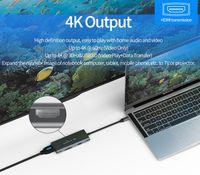 tarjeta de datos de china al por mayor-C Hub USB 7-en-1 tipo C Adaptador multipuerto USB Converter con 4K-C a HDMI USB3.0 D lector de tarjetas de carga de Pd para MacBook Chromebook