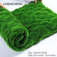 ingrosso tappeto erboso artificiale-Tappeto quadrato Dimensioni 100cm * 100cm erba artificiale tappeto erboso erba verde giardino parete soggiorno decorazione decorativa erba artificiale