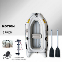 резиновая лодка pvc оптовых- MARINA MOTION New Inflatable Boat Sports Kayak PVC Boat Paddle Rubber Inflatable Boats Double Persons Canoeing With Paddle