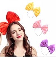abartılı baş bandları toptan satış-Boy Yay Bandı Abartılı Sevimli Kumaş Kız Bandı 9 Renk Saç Aksesuarları Sıcak Şapkalar Kafa Toptan