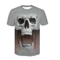 Wholesale acrylic prints china resale online - 2019 summer Brand Skull T shirt Skeleton T shirts flower Tshirt funny d t shirt men hip hop mens clothing china Skull head Tops