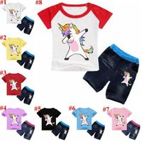 Wholesale cotton baby clothes wholesale online - Unicorn Kids Clothes Baby Outfits Boys Cartoon Clothing Sets Girls Printed Suits Child T Shirt Jeans Pants MMA1588