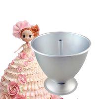 ingrosso stampaggio in alluminio-8 pollice torta stampo 3d principessa abito alluminio strumenti di cottura stampo per torta del fondente che decora con bambola pasticcino moules a gateau J190722
