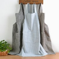 Wholesale new style aprons for sale - Group buy New Japanese Style Solid Color Cotton Hemp Unisex Apron Coffee Shops Work Cleaning Aprons for Woman Kitchen Baking Daidle Bib