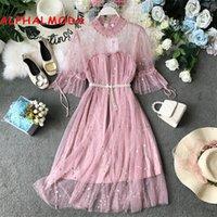 elbiseler için boncuklu tasmalar toptan satış-Alifalma 2019 yaz kadın yeni peri dress boncuklu sashes perspektif köpüklü tatlı bayanlar dantel dress vestidos