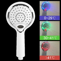 Wholesale automatic wall lights resale online - Automatic LED Light Shower Head Color LED Handheld Bathroom Romantic Lights Portable Water Saving Digital Temperature Display Y200109