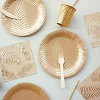 Wholesale gold plating supplies resale online - 57Pcs set Gold Disposable Tableware Set Paper Plates Cup Straws Birthday Party Wedding Decor Carnival Baby Shower Party Supplies