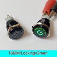 interruptor led trava venda por atacado-50pcs freeshipping 16mm IP67 impermeável Auto bloqueio Travamento ON / OFF LED 12V Iluminado Preto Power Metal Chave Push Button