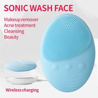 sonic hautpflege pinsel groihandel-Sonic Gesichtsreinigung Hautpflege Massage akustische elektrische Washing Instrument Wireless-Charging IP7 Wasserdicht Tiefe Reinigungsbürste Geräte