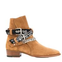 цепочки пряжек для ботинок оптовых-Новые Slip Harness Boots Цепи с пряжкой из овчины Байкерские ботинки Большой размер евро 38-46 с коробкой