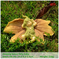 ingrosso natale miniatura-Everyday Collection Leaf Fairy Angel Figurina Baby Outdoor Statue / Miniature Fairy Garden Ornament Decorazione natalizia per la casa