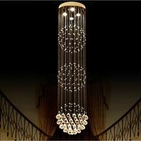 chandeliers en cristal boule ronde achat en gros de-Grand lustre en cristal Salon lustre sala de cristal Moderne boule ronde lustres luminaire mariage déco
