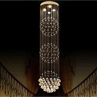 lustres de cristal de bola redonda venda por atacado-Grande Luxo lustre De Cristal Sala de estar lustre sala de cristal Moderna Bola Redonda Lustres Luminária de Casamento Deco