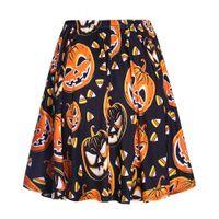 neuheit elastisch großhandel-Frauen Neuheit Halloween Kleidung Drucken Mode Röcke Faldas Mujer Elastische Taille Damenmode Streetwear Rock