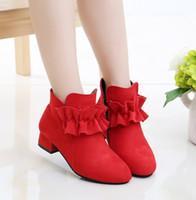 туфли на высоких каблуках для детей оптовых-Мода девушки обувь ботильоны теплая детская обувь осень и зима детская девушка сапоги Принцесса высокие каблуки черный красный розовый
