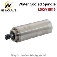 husillo cnc enfriado por agua al por mayor-Motor de husillo cnc 1.5KW 220V 380V husillo refrigerado por agua ER16 con 80MM de diámetro NewCarve Spindle