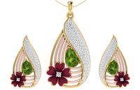 smaragd halskette ohrringe großhandel-Elegante Frauen Natürliche Smaragd Halskette Ohrringe Set 18 Karat Gold Diamant Blume Schmuck Braut Hochzeit Schmuck Set
