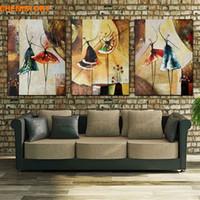 ballettplatte kunst großhandel-Ungerahmt 3 Panel Handgemalte Balletttänzer Abstrakte Moderne Wandkunst Bild Home Decor Ölgemälde Auf Leinwand Für Schlafzimmer J190707