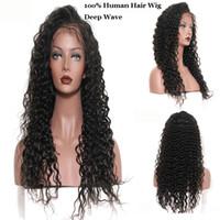 perucas indianas virginais de 12 polegadas venda por atacado-Onda Profunda Do Laço Frontal Perucas com Cabelo Do Bebê Indiano Peruano 100% Cabelo Humano Virgem 150% Densidade Cor Natural 8-28 polegadas