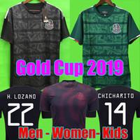 ingrosso pullover per ragazze-Gold Cup 2019 Camisetas Mexico 19 20 MEN WOMEN KIDS maglia da calcio 2018 CHICHARITO LOZANO DOS SANTOS maglia da calcio per ragazza camisa de futbol