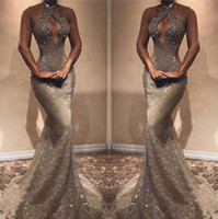 Wholesale out side lights for sale - Group buy African Keyhole Neck Mermaid Hollow Out Sexy Prom Dresses Backless Mermaid Cutaway Sides Crystal Beads Evening Gowns BC0408