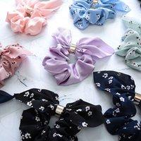 saç bandı kravat tutacağı toptan satış-1 ADET Moda Çiçek baskı Kadınlar Ayarlanabilir Yay Düğüm Saç Halat Halka Kravat At Kuyruğu Tutucu Aksesuar Araçları