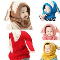Wholesale crochet baby caps resale online - Baby in Ear scarf cap Kids Beanies Warm Knitted Hats cartoon warmer Winter crochet dog shape ear Hat AAA1608