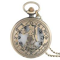счастливые часы оптовых-Lucky Bronze Virgo Карманные часы в винтажном стиле стимпанк 12 созвездие женские мужские ожерелье с цепочкой арабские цифры подарки