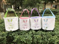 Wholesale factory beds direct resale online - Easter Bucket Bag DIY Manual Canvas Baskets Child Portable Green Pink Wear Resistant Lightweight Factory Direct Selling czC1