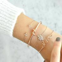 Wholesale exquisite gold bracelet resale online - 4pcs set Exquisite Simple Knot Love Gold Opening Bracelet Set Vintage Beautiful Leaf Arrow Bangle Cuff Bracelets Causal Women Jewelry Access