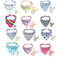 Baby Cotton Triangle Bib burp & Teethers set Bandana kerchief infant Saliva Bibs Apron Wooden Chews Teeth Practice Toy EEA442