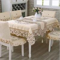elegante weiße partydekor großhandel-Satin Stoff Tischdecke Rechteck Elegante Hohl Gestickte Floral Thick Tischdecke Hochzeit Party Decor Tischdecken